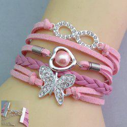 Rhinestone Decorated Butterfly Friendship Bracelet - PINK