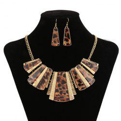 Chic Special Design Leopard Geometric Pendant Necklace With A Pair of Earrings For Women -
