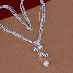 Silver Plated Beads Necklace For Women -  18INCHS