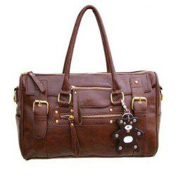 Fashionable Buckle and Zipper Design Women's Tote Bag -