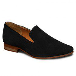 Laconic Suede and Pointed Toe Design Men's Loafers - BLACK