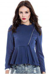 Slim Fit Zip Up Peplum Jacket - CADETBLUE