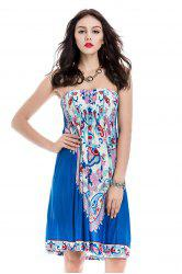 Smocked Short Strapless Bandeau Summer Dress -