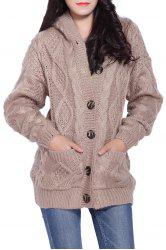 Cable Knit Hooded Cardigan - KHAKI