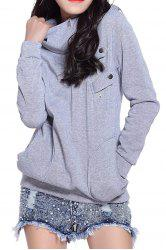 Side Pockets Design Long Sleeve Loose Women's Hoodie - GRAY