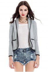 Elegant Shawl Collar Color Block Long Sleeve Blazer For Women - GRAY
