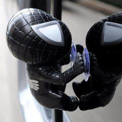 Car Decorations 12cm Spider Doll Window Sucker Climbing Spiderman Toy - BLACK