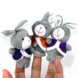 3pcs Rabbit Design Plush Toy Finger Puppets Tell Story Props for Kids -