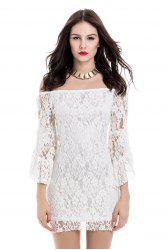 Off-The-Shoulder Trumpet Sleeve Lace Bodycon Dress - WHITE