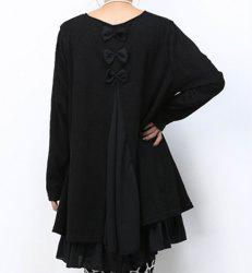 Casual Scoop Neck Long Sleeve Spliced Loose-Fitting Women's Dress - BLACK