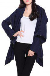 Stylish Long Sleeves Solid Color Asymmetric Wool Coat For Women - CADETBLUE