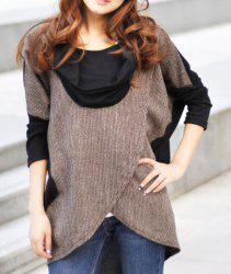 Elegant Draped Collar Long Sleeve Color Block T-Shirt For Women -