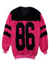 Stylish Round Collar Long Sleeve Letter Pattern Color Block Women's Sweatshirt - RED