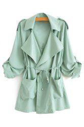 Stylish Lapel Neck Long Sleeve Solid Color Lace-Up Epaulet Women's Trench Coat - GREEN L