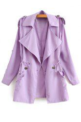Stylish Lapel Neck Long Sleeve Solid Color Lace-Up Epaulet Women's Trench Coat -