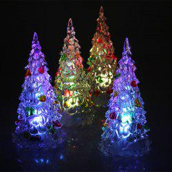 4Pcs 12cm Multi-Color Slow Twinkle Romantic LED Desktop Crystal Christmas Tree with Colorful Leaves Decoration - TRANSPARENT