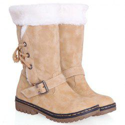 Vintage Suede and Buckle Design Women's Boots - BEIGE