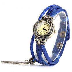 E048 Retro Quartz Watch Wing Round Dial Weave Wrap around Leather Strap for Women - BLUE