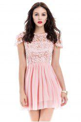 Lace Panel Short Backless Formal Dress - PINK