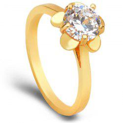 KCCHSTAR Flower Style with Inlaid Artificial Crystal Ring Made of Electroplating 24K Gold