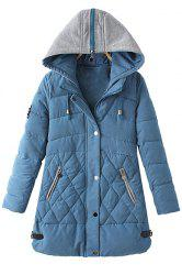 Casual Hooded Zipper Applique Draw Cord Long Sleeve Coat For Women -