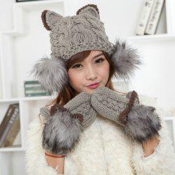 Chic Cat Shape and Downy Ball Decorated Hemp Flower Pattern Knitted Hat For Women