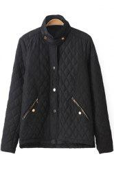 Fashionable Stand Collar Long Sleeve Solid Color Quilting Women's Jacket -
