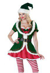 Chic Short Sleeve Bowknot Decorated Green Christmas Costume For Women