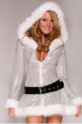 Chic V-Neck and Solid Color Design Christmas Costume For Women