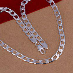 8mm Stylish Men's  Silver Plated Link Chain Necklace