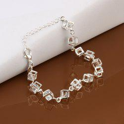 Silver Plated Fake Crystals Cube Bracelets - 20cm+5cm*0.8cm