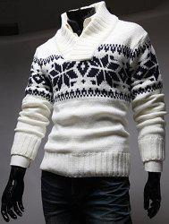 Stylish Stand Collar Slimming Christmas Snowflake Jacquard Long Sleeve Polyester Sweater For Men -