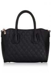 Stylish Solid Color and Checked Design Women's Tote Bag -