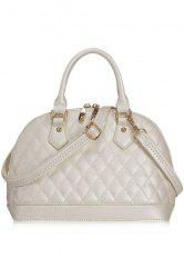 Elegant PU Leather and Checked Design Women's Tote Bag -