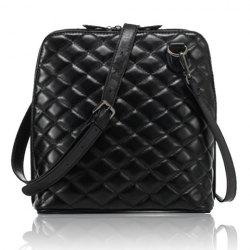 Graceful Checked and Zipper Design Women's Crossbody Bag -