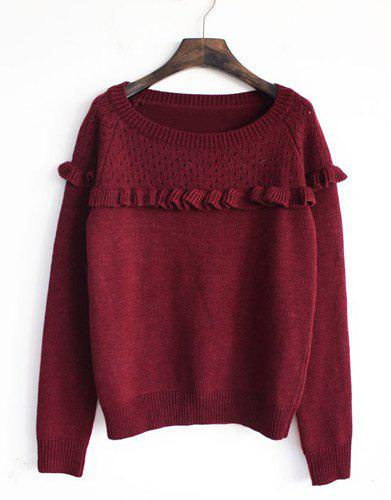 Affordable Vintage Jewel Neck Long Sleeves Solid Color Flounce Sweater For Women
