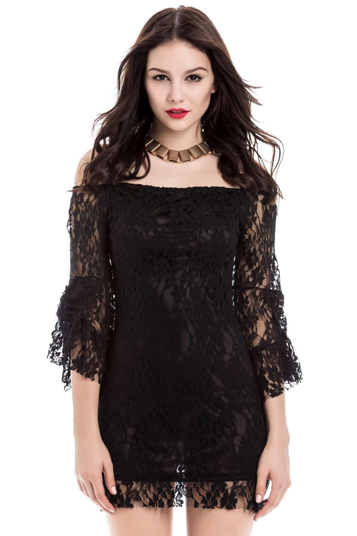 Cheap Sexy Boat Neck Flared Sleeve Lace Dress For Women