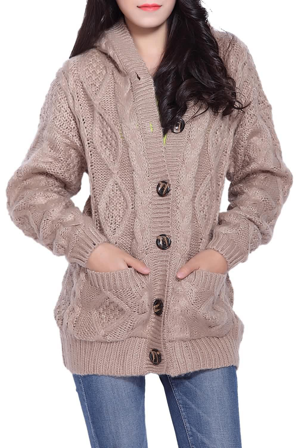 Cable Knit Hooded CardiganWOMEN<br><br>Size: ONE SIZE; Color: KHAKI; Type: Cardigans; Material: Acrylic; Sleeve Length: Full; Collar: Hooded; Style: Fashion; Pattern Type: Solid; Weight: 0.839kg; Package Contents: 1 x Cardigan;