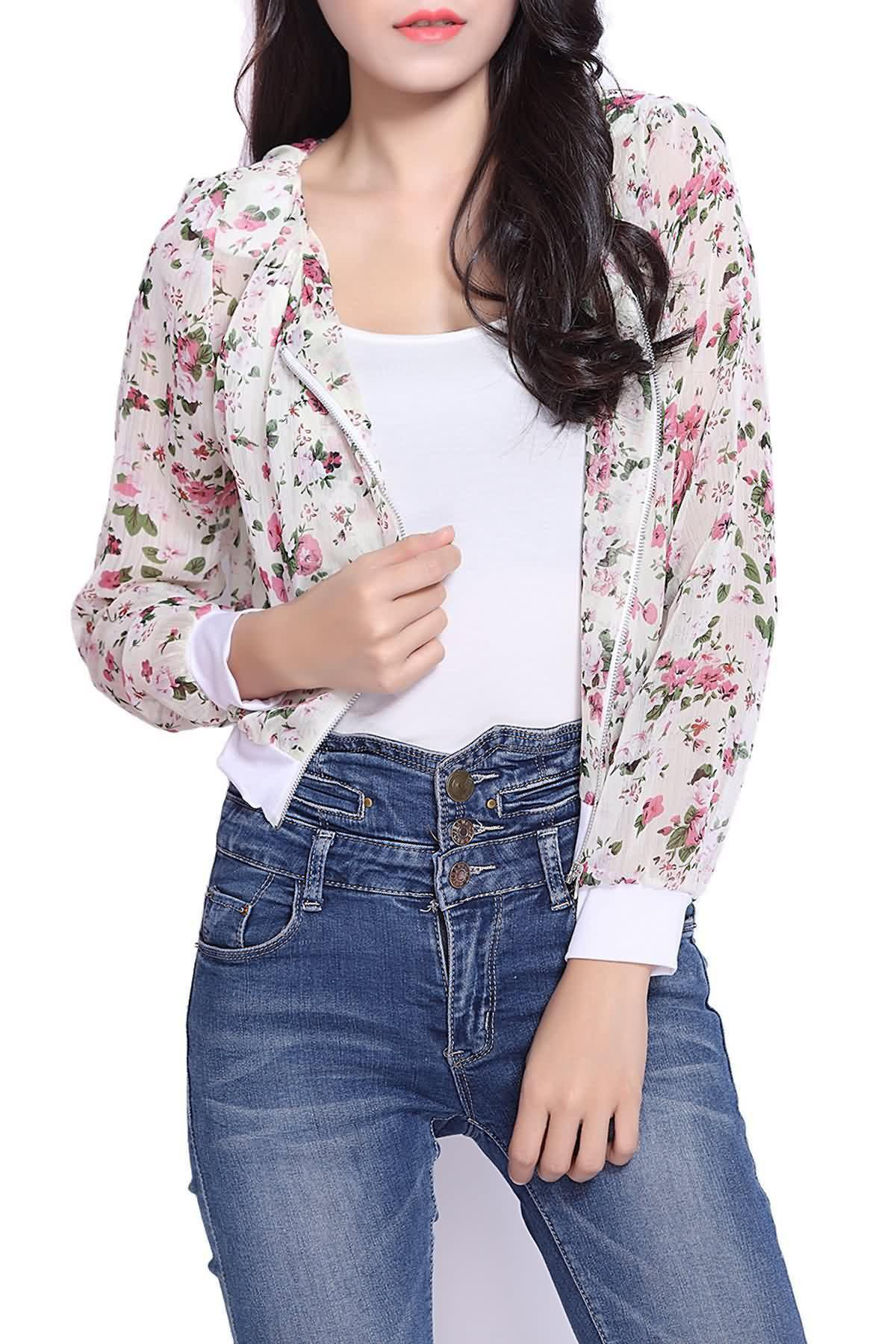 Online Stunning Scoop Neck Long Sleeves Floral Print Shrug Style Chiffon Women's Jacket