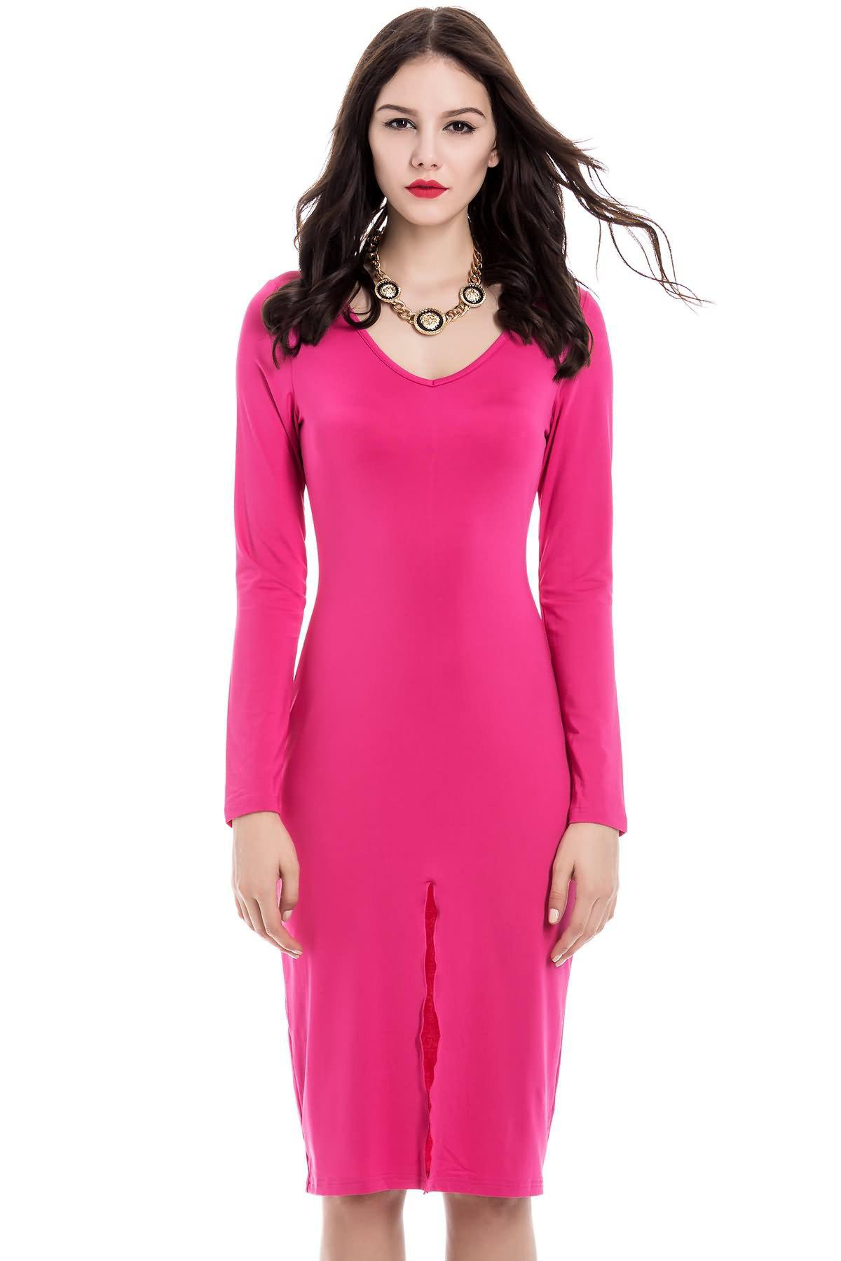 Rose Madder S Sexy Front Split Design Long Sleeve Plunging
