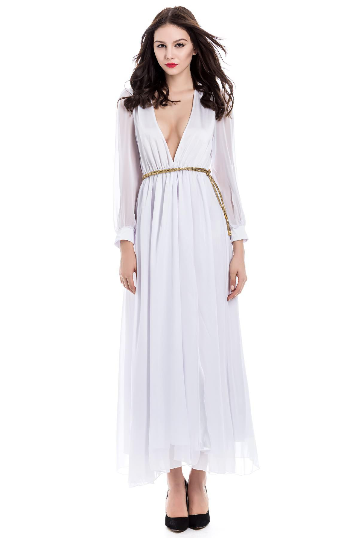 72 Off Long Sleeve Deep Plunging V Neck Slit Maxi Dress