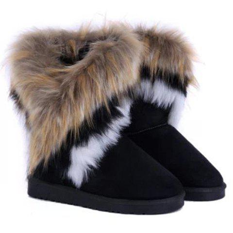 Furry Mid Calf BootsSHOES &amp; BAGS<br><br>Size: 40; Color: BLACK; Gender: For Women; Boot Type: Snow Boots; Boot Height: Mid-Calf; Toe Shape: Round Toe; Heel Type: Flat Heel; Heel Height Range: Flat(0-0.5); Closure Type: Slip-On; Shoe Width: Medium(B/M); Pattern Type: Solid; Embellishment: Fur; Upper Material: Suede; Weight: 0.621kg; Season: Winter; Package Contents: 1 x Snow Boots (pair);