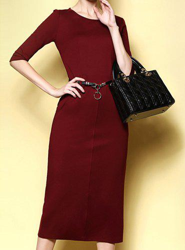 Online Simple Round Neck Solid Color Slimming Half Sleeve Women's Dress