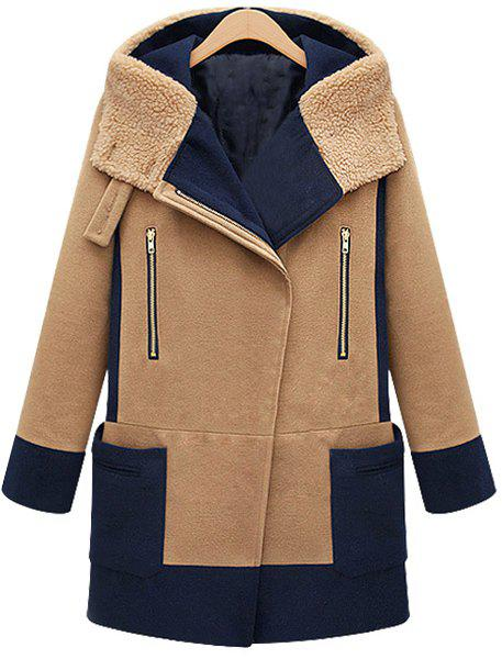 Online Fashionable Hooded Color Block Long Sleeve Worsted Women's Coat
