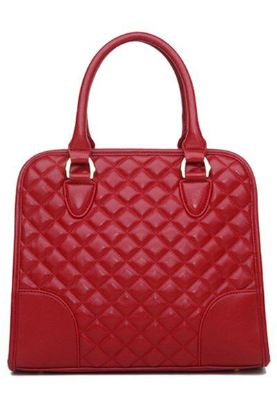 Online Elegant Splice and Checked Design Women's Tote Bag