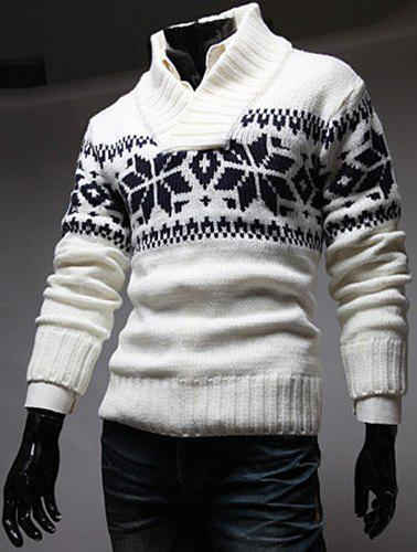 Fashion Stylish Stand Collar Slimming Christmas Snowflake Jacquard Long Sleeve Polyester Sweater For Men