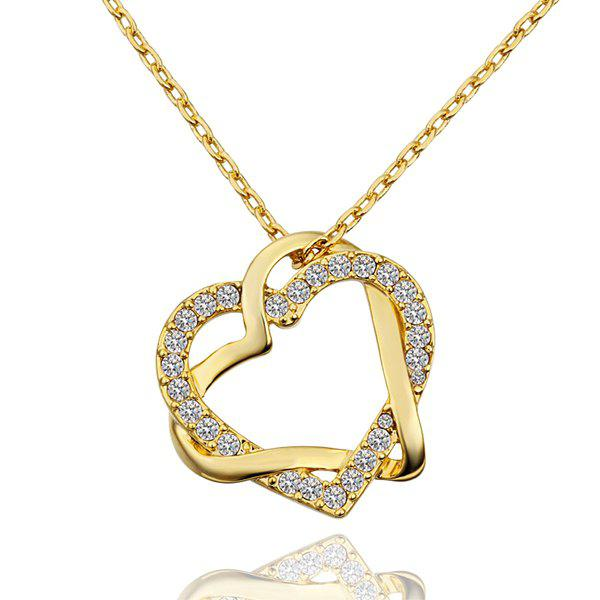 Hot Fashionable Rhinestoned Gem Heart Gold Plated Necklace