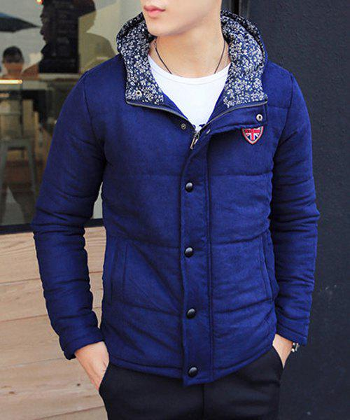Stylish Hooded Slimming Badge Design Floral Splicing Manteau à manches longues Manteau en mousseline de coton pour hommes Bleu M