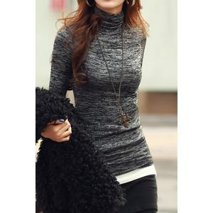 Casual Style Turtle Neck Color Mixed Long Sleeve T-Shirt For Women - Black - S