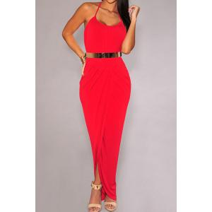 Stylish Halter Side Slit Dress with Belt For Women